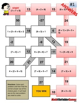 Order of Operations Maze WITH Parentheses/Brackets but WITHOUT Exponents