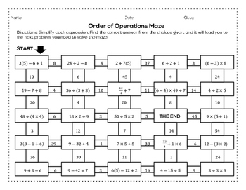 Order of Operations Maze (Worksheet Activity)