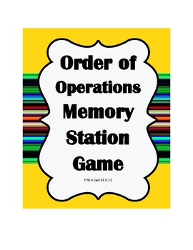Order of Operations Memory
