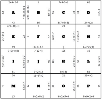 Order of Operations Middle School Math Puzzle