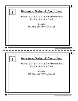 Order of Operations Mini-Unit for Middle School with BONUS Activity