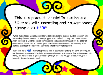 Order of Operations Missing Variable QR Code Task Cards FREE