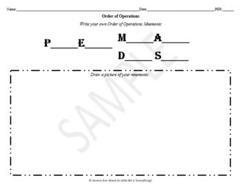 Order of Operations Mnemonic (Version 2)