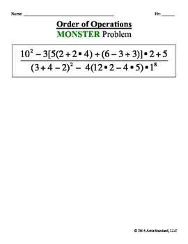 Order of Operations: Monster Problem