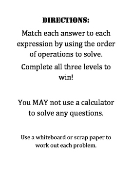 Order of Operations Multi-Level File Folder Game