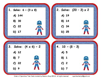 Order of Operations Multiple Choice Task Cards