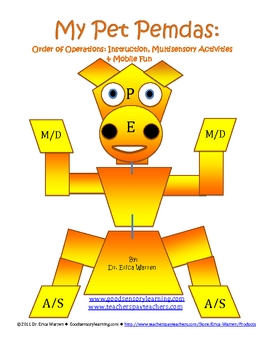Order of Operations: My Pet Pemdas Lesson/Activity/Mobile