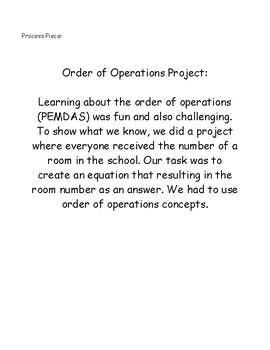 Order of Operations Mystery Room Project