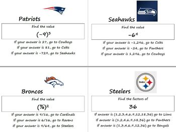 Order of Operations NFL Teams Stations Task Cards Answer KEY Review Exponents