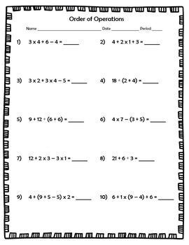 FREE Order of Operations NO exponents NO negative integers Worksheet with KEY