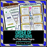 Order of Operations No Prep Note Pages
