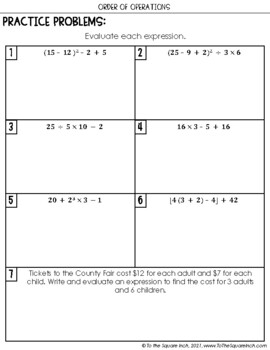 Order of Operations Notes