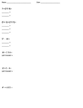 Order of Operations - Notes & Practice