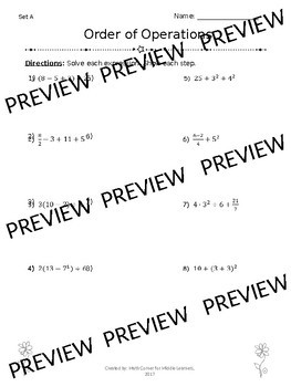 Order of Operations Notes, Practice & Exit Ticket