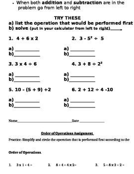 Order of Operations Notes and Assignments