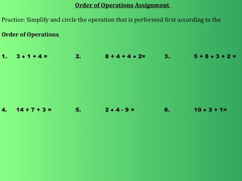 Order of Operations Notes and Assignments on SmartBoard