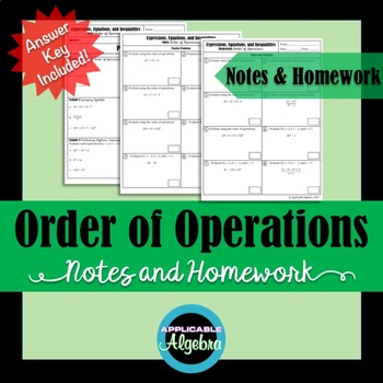 Order of Operations - Notes and Homework - Numerical and Algebraic Expressions