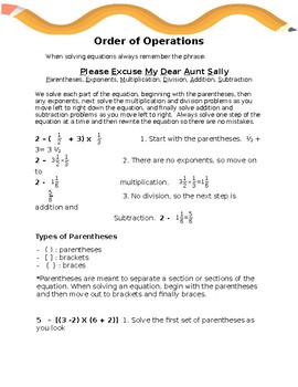 order of operations decimals worksheet teaching resources  teachers  order of operations notes and worksheet order of operations notes and  worksheet