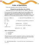 Order of Operations Notes and Worksheet