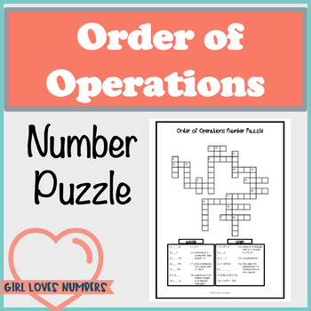 Order of Operations Number Puzzle