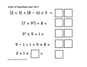 Order of Operations Number Tile Task Cards - Hands on Practice