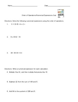 Order of Operations/Numerical Expressions