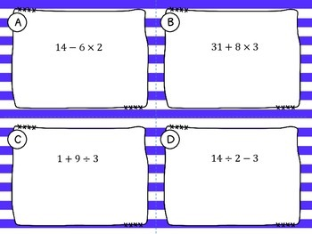 Order of Operations -Numerical Expressions Task Cards