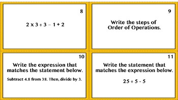 Order of Operations & Numerical Expressions Task Cards
