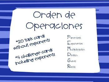 Order of Operations/ Orden de Operaciones