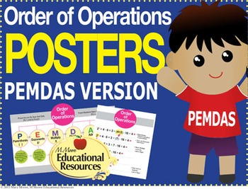 """Order of Operations - PEMDAS - 2 MATH POSTERS - 24"""" x 36"""""""