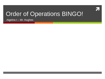 Order of Operations (PEMDAS) Bingo PowerPoint