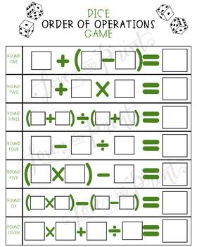 Order of Operations - PEMDAS - Dice Game