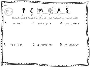 of Operations PEMDAS Differentiated Worksheets and Assessments
