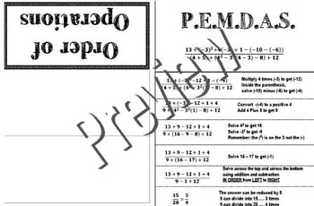 Order of Operations PEMDAS Foldable Interactive Notebook Graphic Organizer