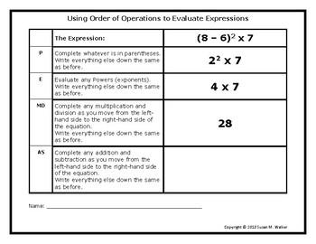 Order of Operations (PEMDAS) Graphic Organizer Mini-Poster
