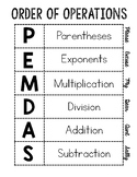 Order of Operations- PEMDAS Interactive Notebook/Poster
