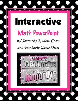 Order of Operations (PEMDAS) Jeopardy PowerPoint (PPT) Game