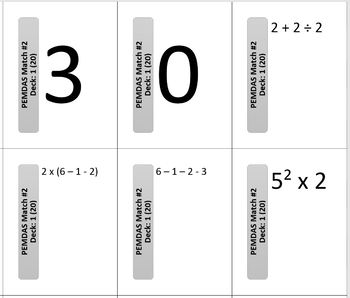 Order of Operations (PEMDAS) Matching Cards