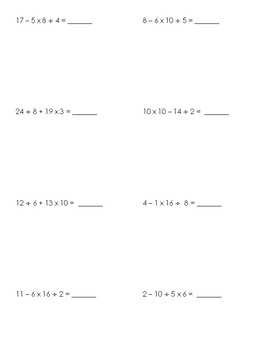 Order of Operations (PEMDAS) Notes & Guided Practice