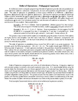 Order of Operations - PEMDAS - Pedagogy + Example Sheets - FREE