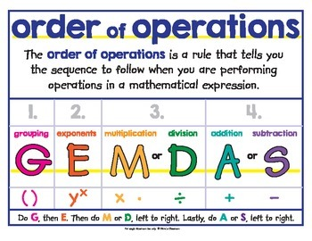 Order of Operations - PEMDAS - Poster