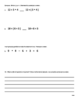 Order of Operations (PEMDAS) Quiz