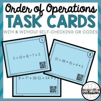 Order of Operations PEMDAS Task Cards with QR Codes
