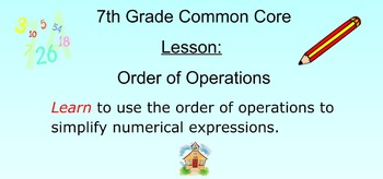 Order of Operations - PEMDAS for SMART Board