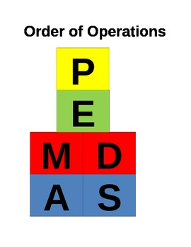 Order of Operations PEMDAS organizer