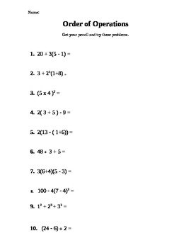 Order of Operations (PEMDAS) practice problems