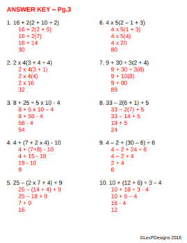 Order of Operations (PEMDAS) without Exponents