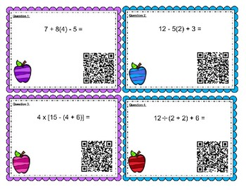 Order of Operations (PEMDAS) without Exponents QR Task Cards (with VIDEO)
