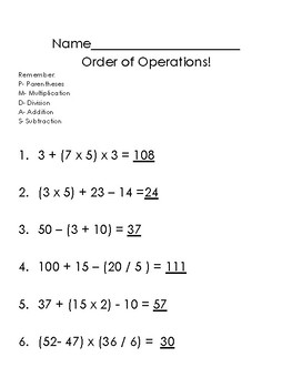 Order of Operations {Parentheses, Mult, Divide, Add, Subtract}
