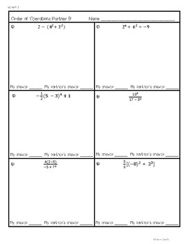 Order of Operations Partner Activity